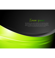 Green and black wavy background vector image