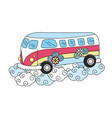 Hippie van with flowers and clouds vector image