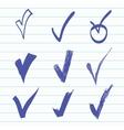 set of Hand-drawn check vector image