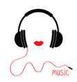 Headphones with cord Red lips Music card Flat vector image