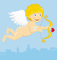 flying cupid with arrow vector image