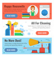 three banner for cleaning and laundry vector image