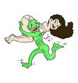 comic cartoon swamp monster carrying girl in vector image