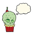 cartoon spooky skull cupcake with thought bubble vector image