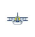 World War One Pilot Head Biplane Circle Retro vector image vector image
