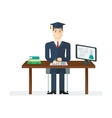 student sitting at the table vector image