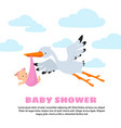 baby shower background with stork carrying vector image