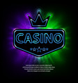 bright vegas casino banner with neon frame and vector image