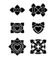 hearts tribal tattoo set vector image
