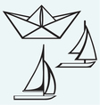 Origami paper ship and sailboat sailing vector image