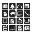 Silhouette Communication and media icons vector image