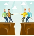 Two groups of business people pulling rope vector image