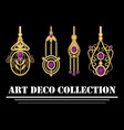 collection of elegant gold earrings with purple vector image