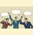 three speakers gestures businessmen vector image