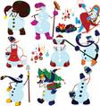 Cartoon snowman set and presents vector image