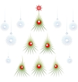 Set of abstract green Christmas tree with red vector image