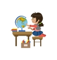 Little Girl Playing With Globe vector image