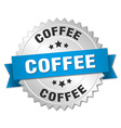 coffee 3d silver badge with blue ribbon vector image