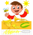 Boy with yellow objects vector image vector image