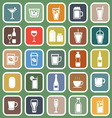 Drink flat icons on green background vector image
