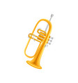 golden trumpet in flat style large brass wind vector image
