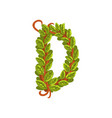 letter d english alphabet made of tree branches vector image