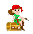 little girl pirate vector image