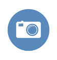 Photo camera icon in blue circle vector image