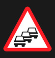 traffic congestion sign flat icon vector image