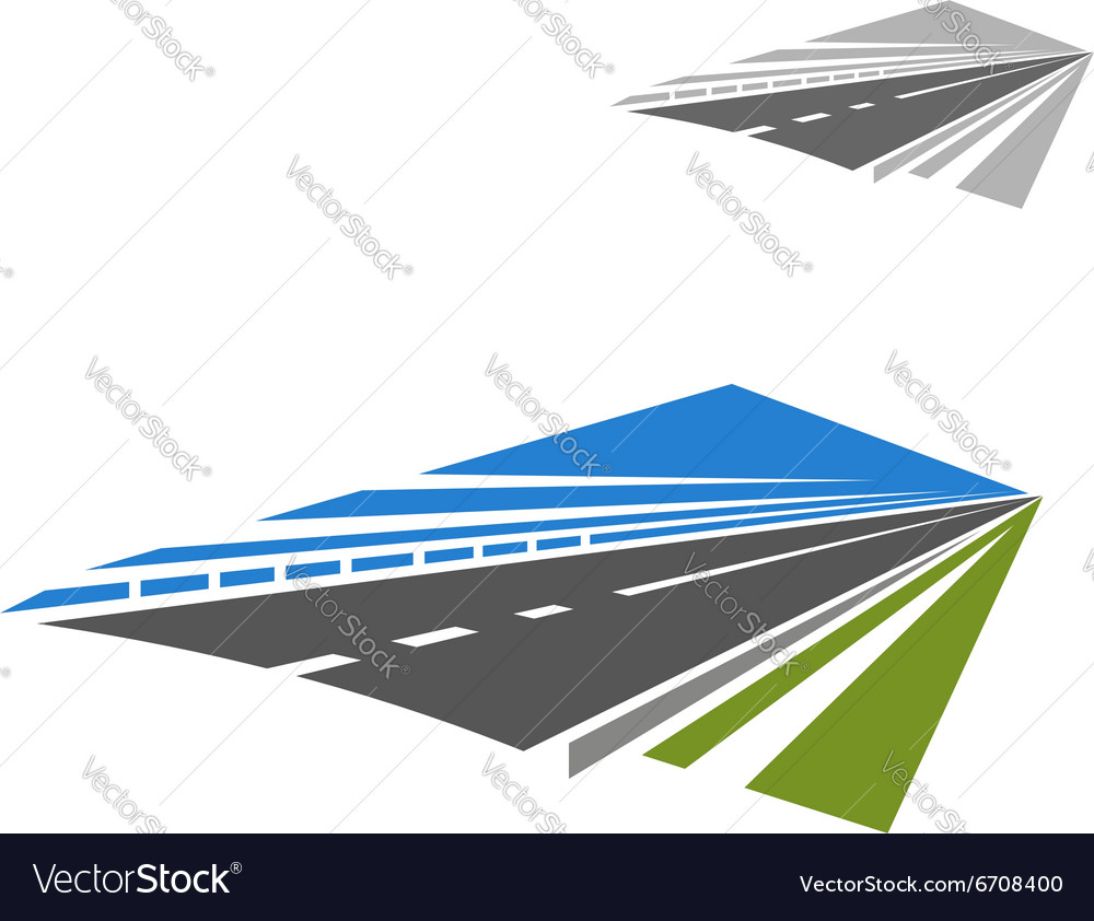 Icon of highway disappearing beyond horizon vector