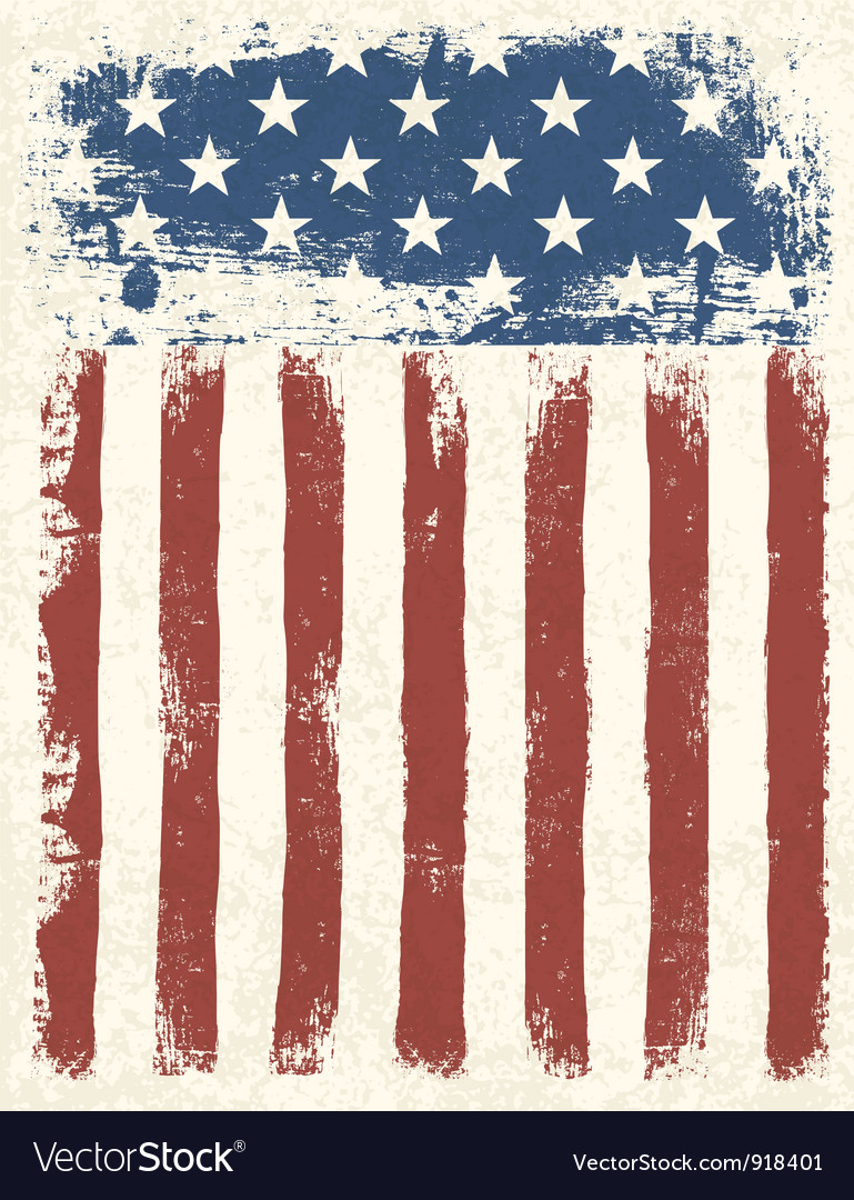 American flag grunge background vector