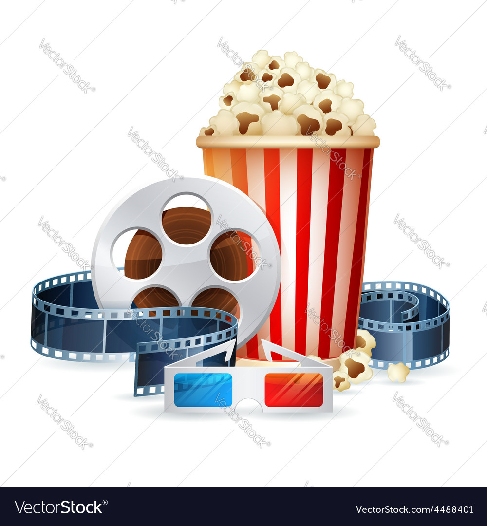 Cinema and movie realistic objects isolated vector