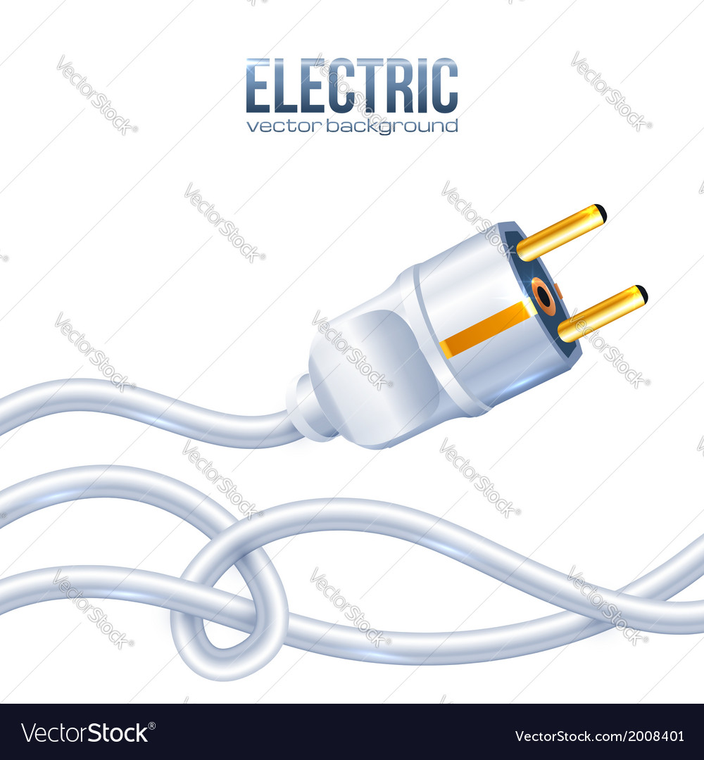 White electric plug and cables vector