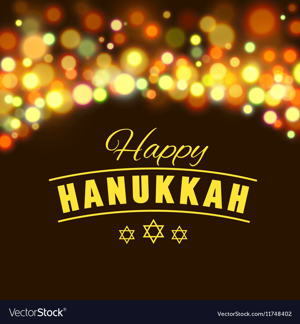 Happy hanukkah greeting card with handdrawn vector