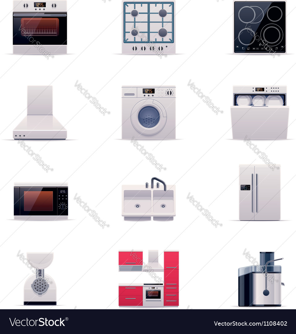 Part one of domestic appliances set vector