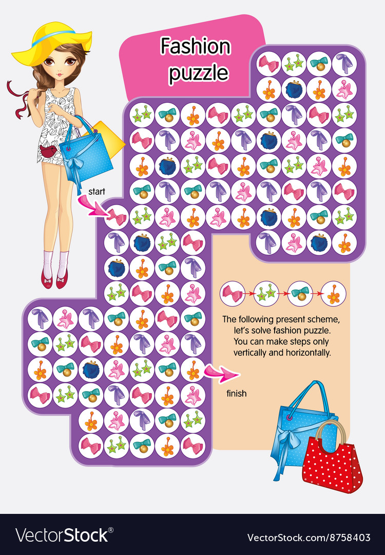 Activity page of fashion puzzle vector