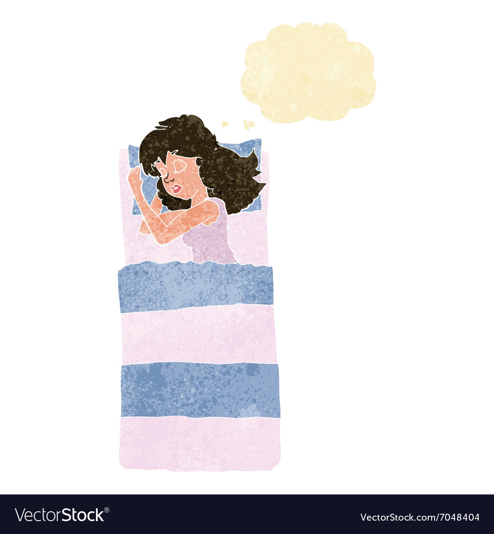 Cartoon sleeping woman with thought bubble vector