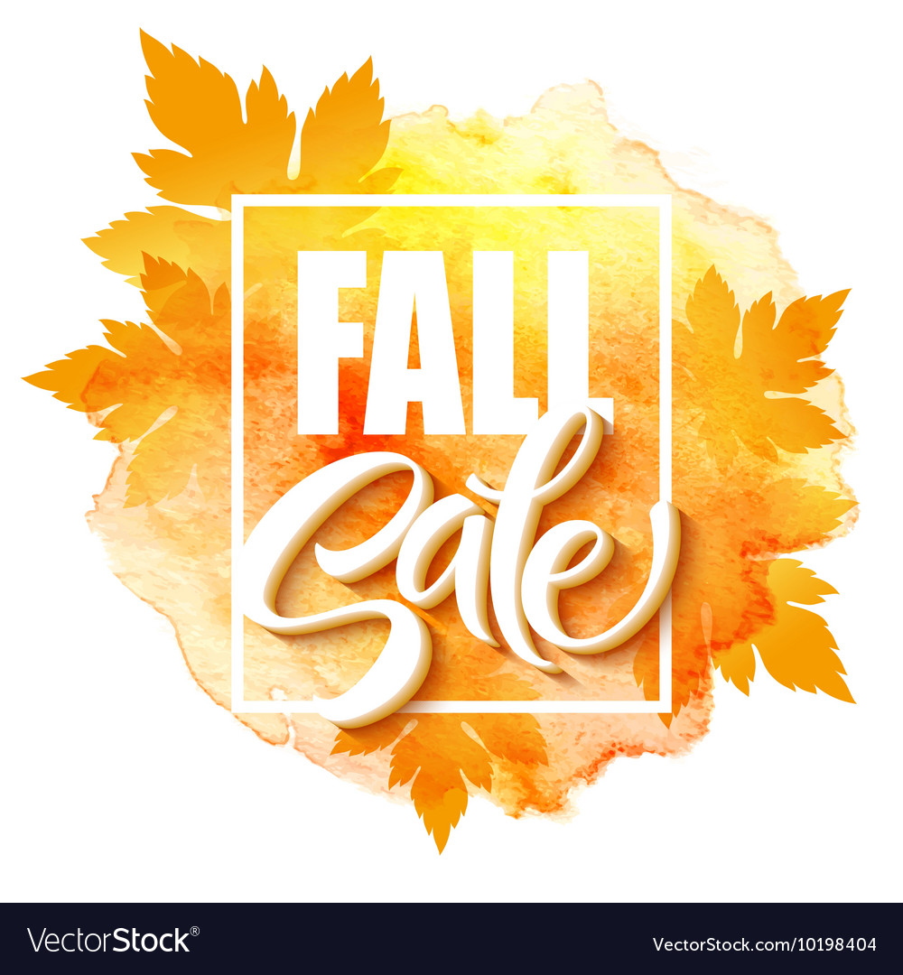 Fall sale poster with colorful watercolor leaves vector