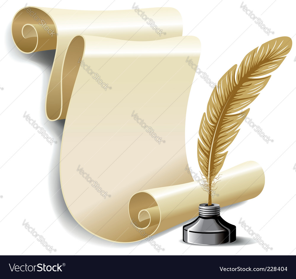 Feather in inkwell vector
