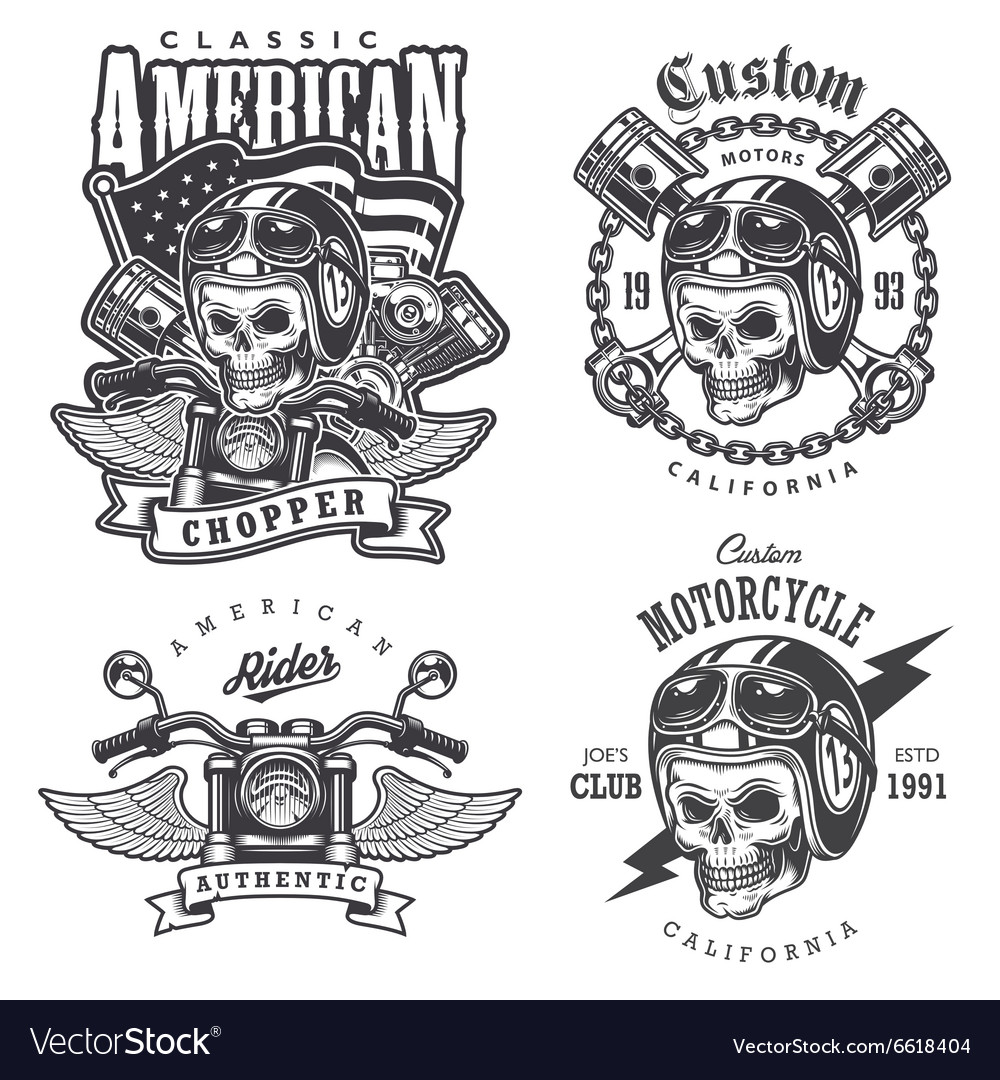 Set of vintage motorcycle tshirt prints vector