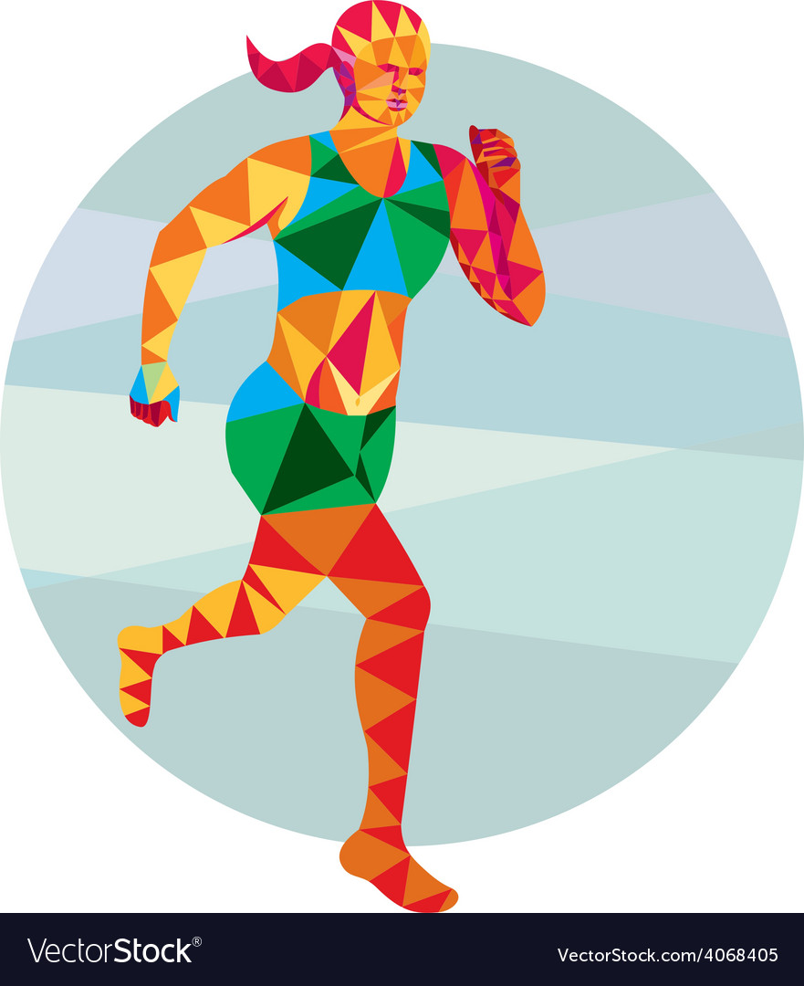 Female triathlete marathon runner low polygon vector