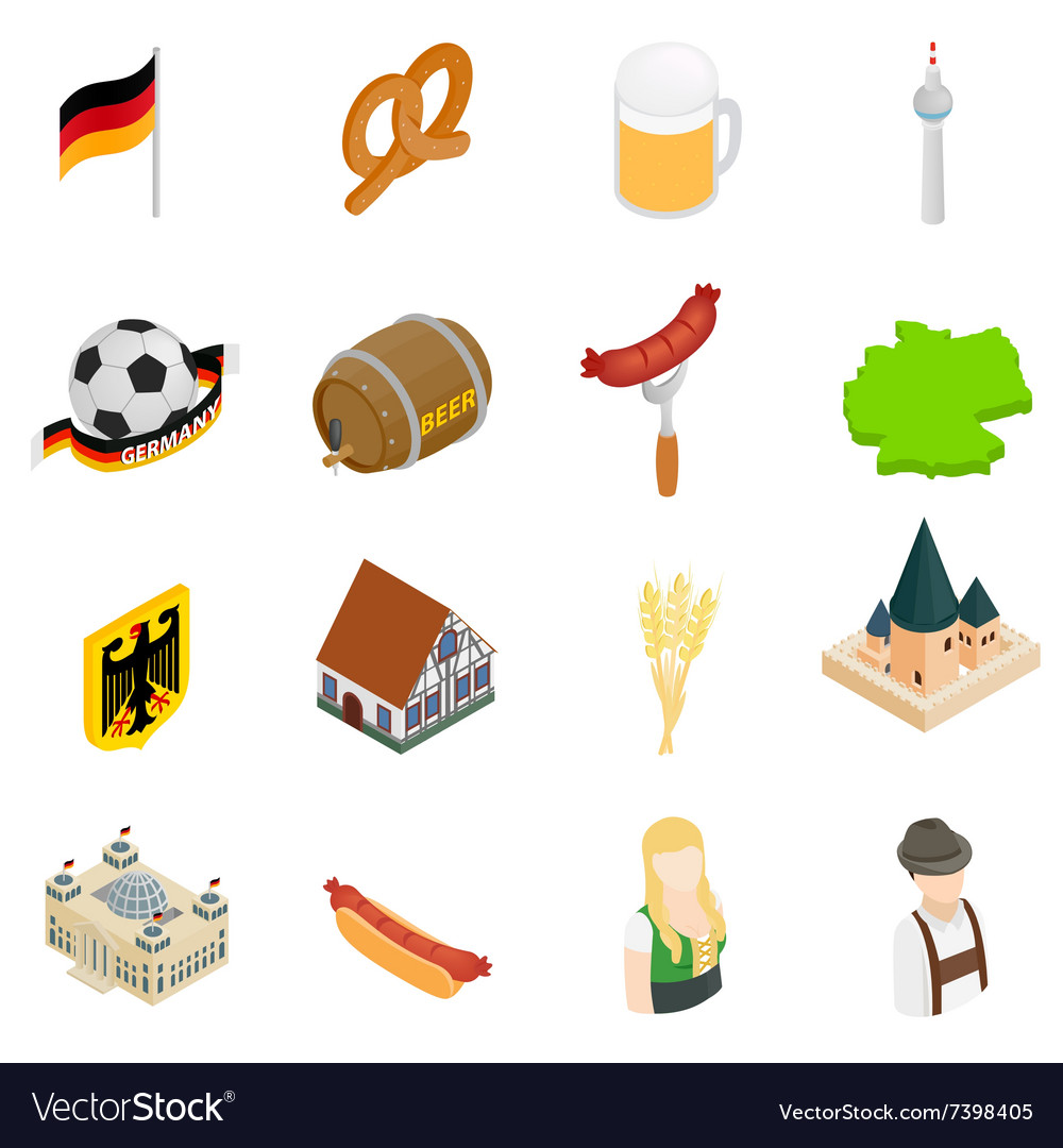 Germany isometric 3d icons vector