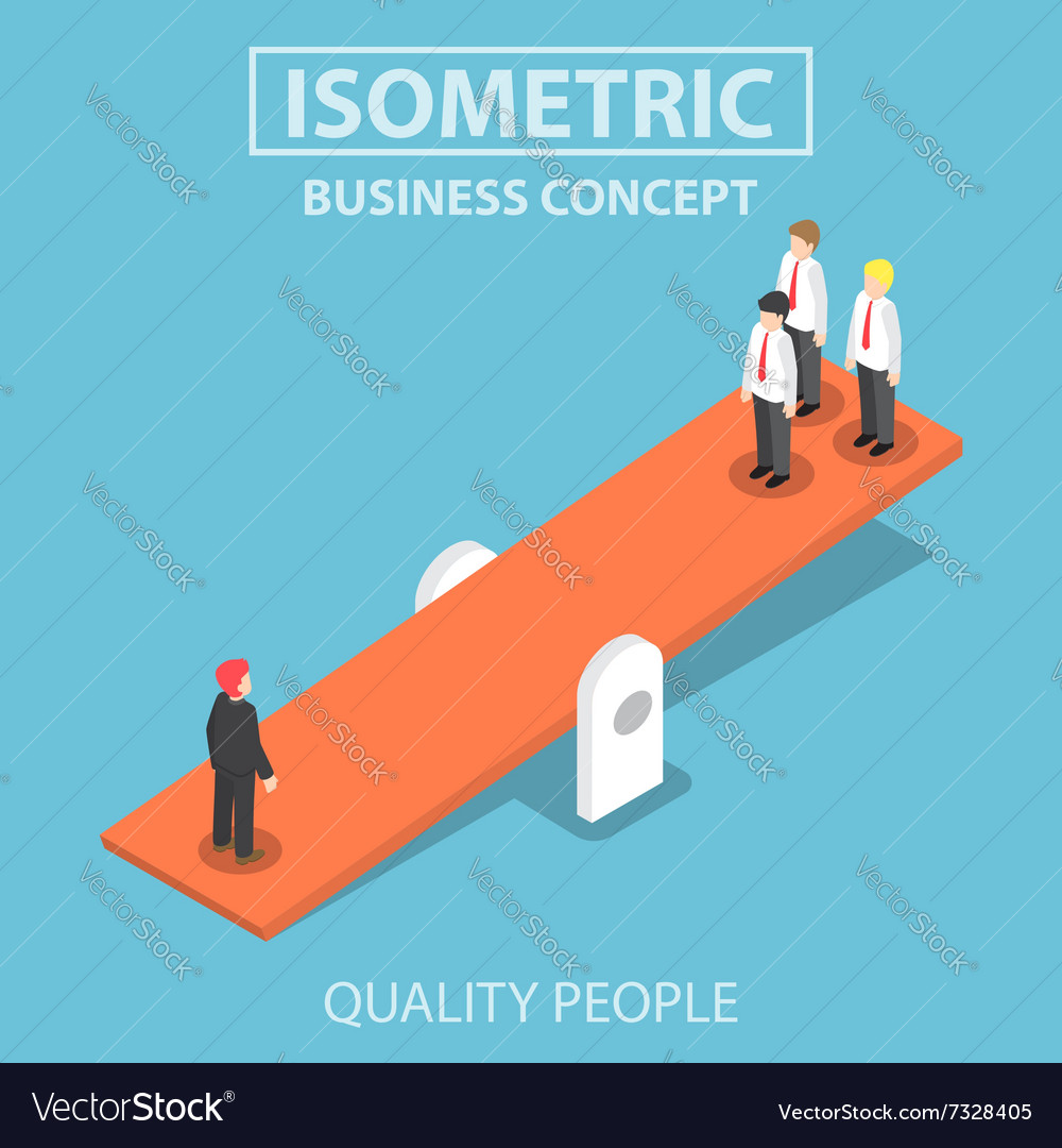 Isometric quality businessman weighing more than vector