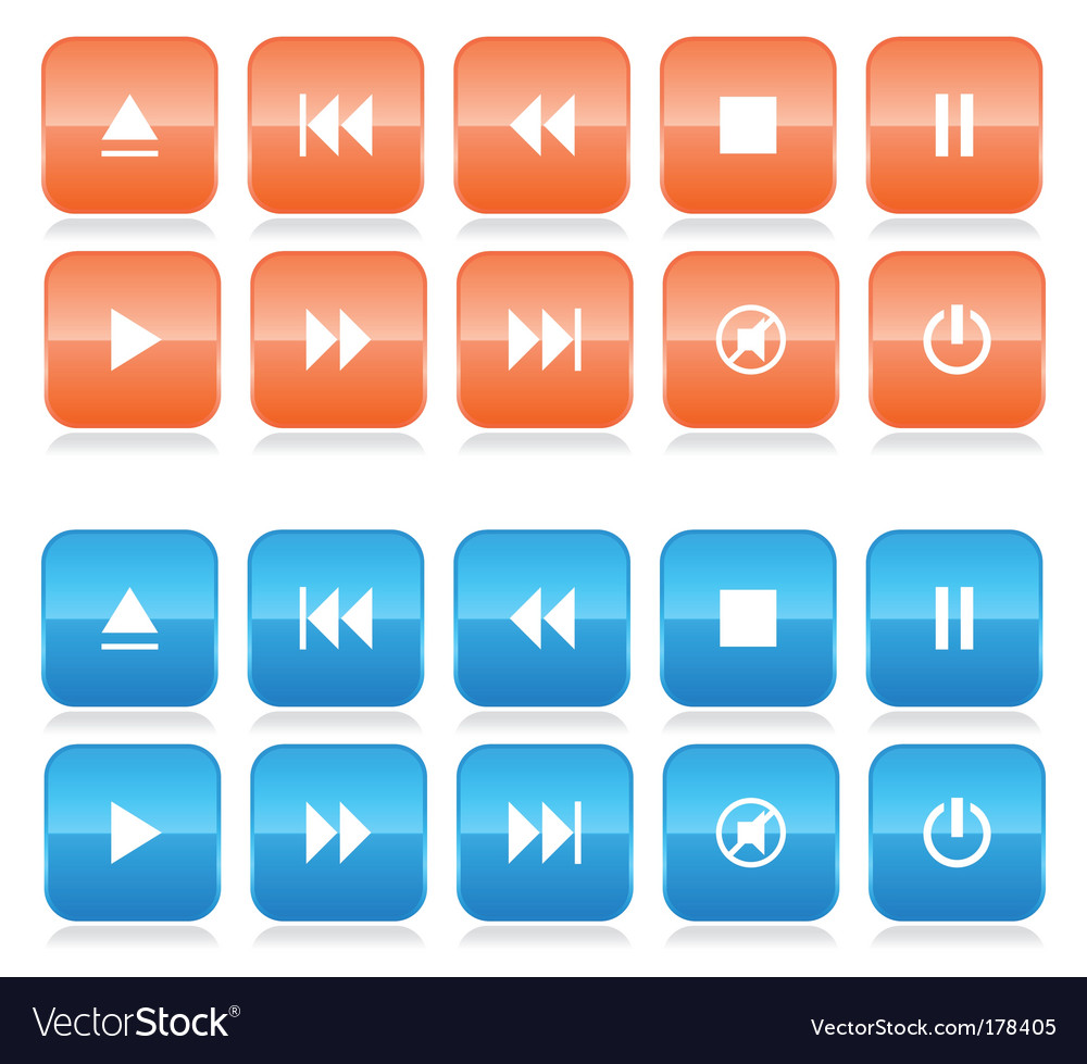 Media player button set vector