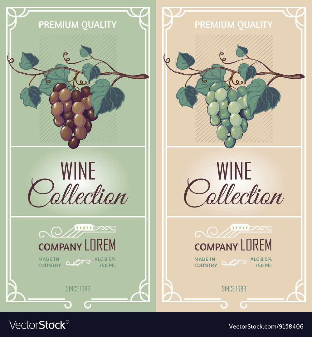 Two vertical banners with wine labels vector