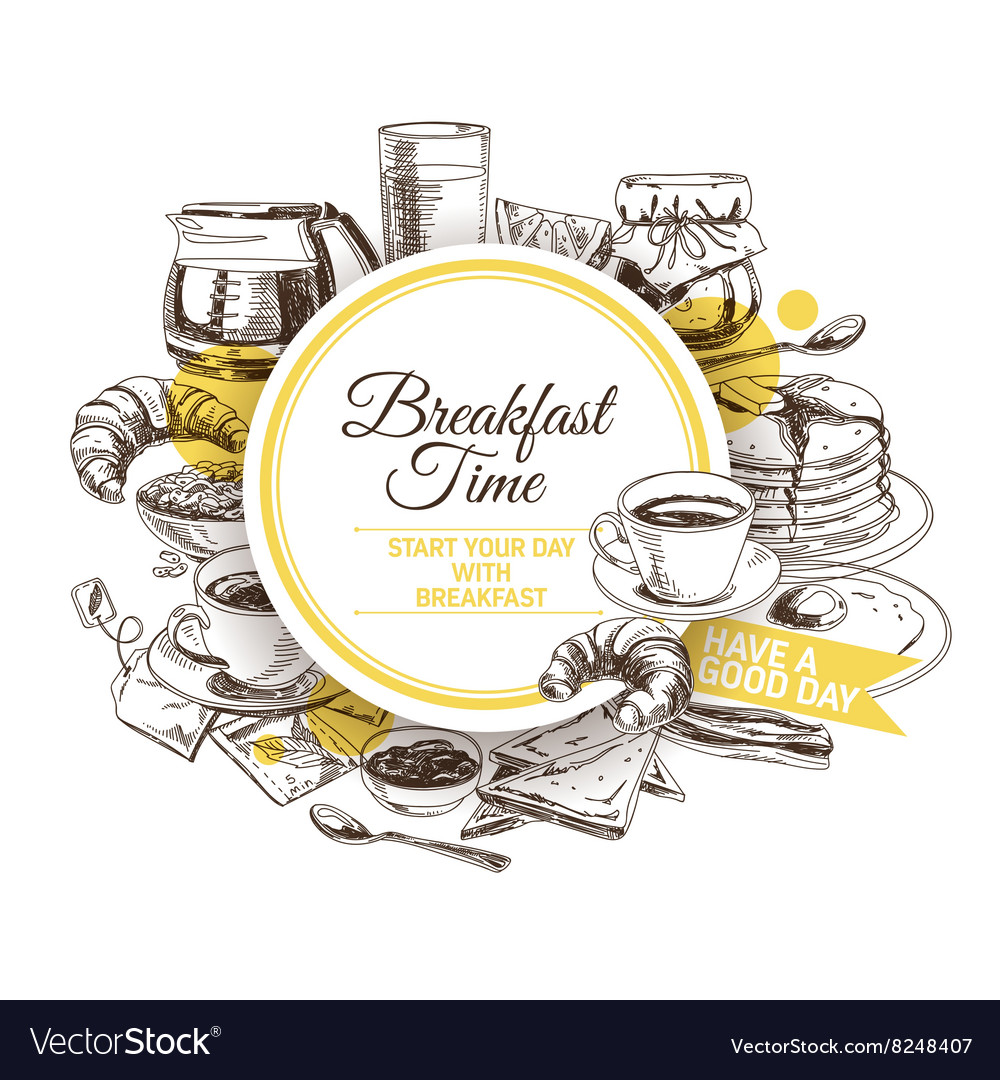 Background hand drawn breakfast vector