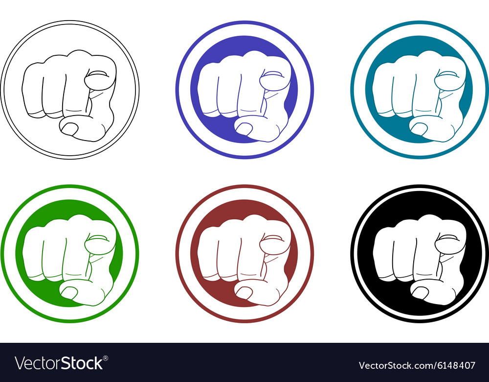 Pointing fingers icons set vector