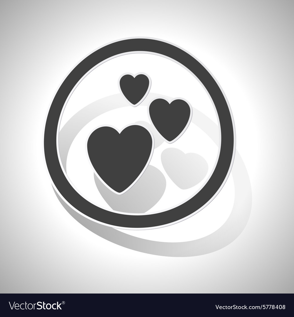 Love sign sticker curved vector