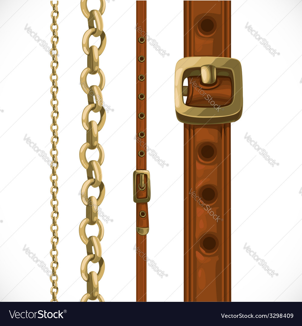 Leather belts with brass buckles and chain vector