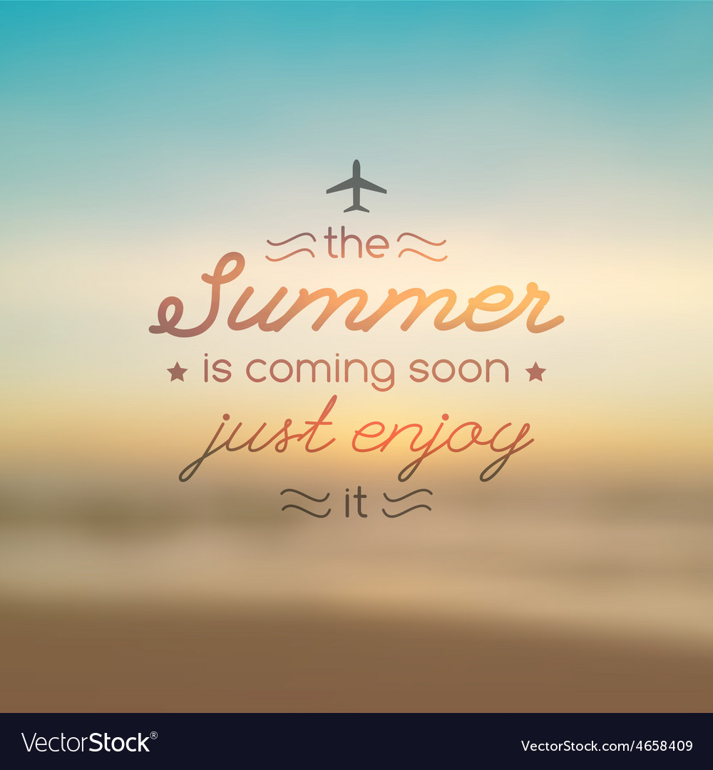 Summer is coming soon text vector